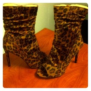 Cheetah Print Peep Toe Booties
